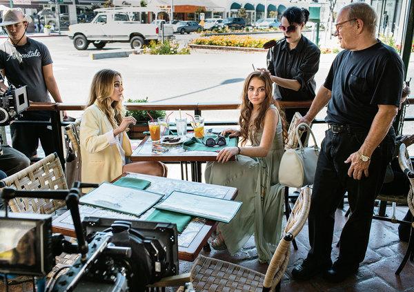 "No set de""The Canyons"" : Amanda Brooks, Lindsay Lohan and Paul Schrader | Crédito: Jeff Minton para The New York Times"