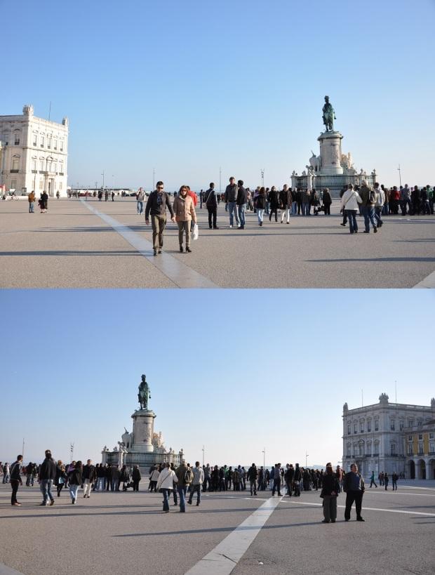 Depois do relojão, estava a Praça do Comércio (ou terreiro do Paço), que fica junto ao rio Tejo.