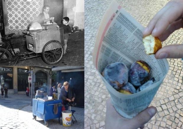 Continuando no assunto comida, gostei mesmo das castanhas portuguesas com casquinhas crocantes e salgadas vendidas por ambulantes nas ruas - ganhou do leite creme. Esqueci de tirar fotos, e, pesquisando por imagens, encontrei muitos registros mais antigos. As da montagem são daqui, daqui e daqui.